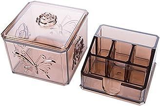 Refreshing Plastic Cosmetic Makeup Organizer Lipstick Storage Holder Cotton Swab Container Acrylic Desktop Pads Storage Ca...