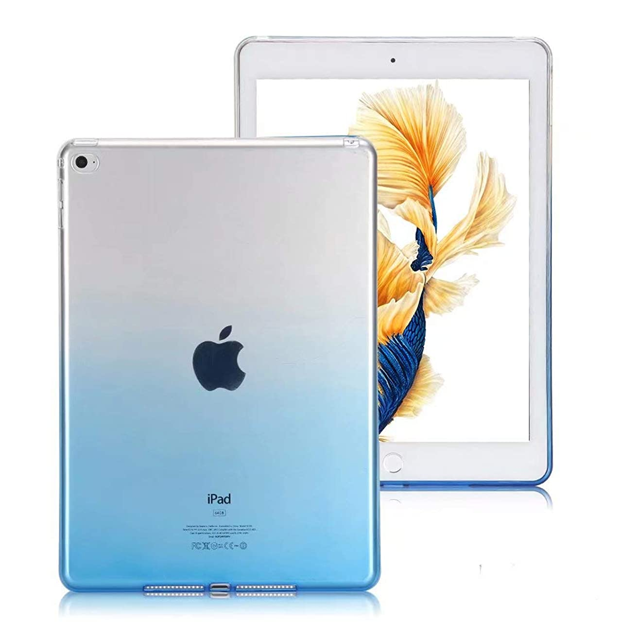 iPad Air Case, VMAE Soft TPU Flexible Transparent Bumper, Gradient Color Ultra Thin Rubber Clear Back Cover Protector for Apple iPad Air 1/iPad 5 2013 Model - Gradient Blue