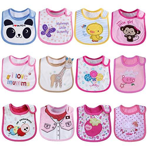 Tomkity 12 Bavaglini Neonato Impermeabili Bambino Bandana Drool Bavaglini Panno per Ruttino Neonato (bambina-12pz)