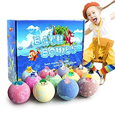 TEHOOK 12 Pack Bath Bombs with Surprise Marine Toys Inside for Kids, 3.5oz Bubble Bath for Birthday or Easter Gift for Girls, Boys, Women Dry Skin Moisturize, Handmade 12 Gift Set