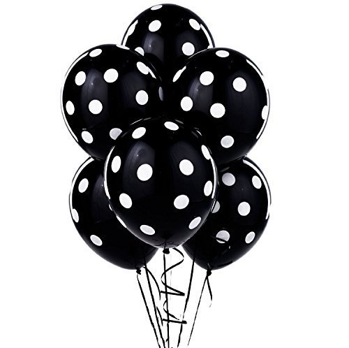 12 Black and White Polka Dot Balloons!