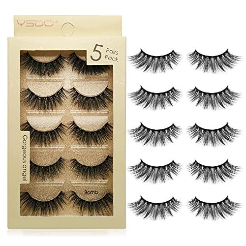 False Eyelashes 5 Pairs Reusable 3D Mink Lashes Handmade Natural Thick Fake Eyelashes Contains...