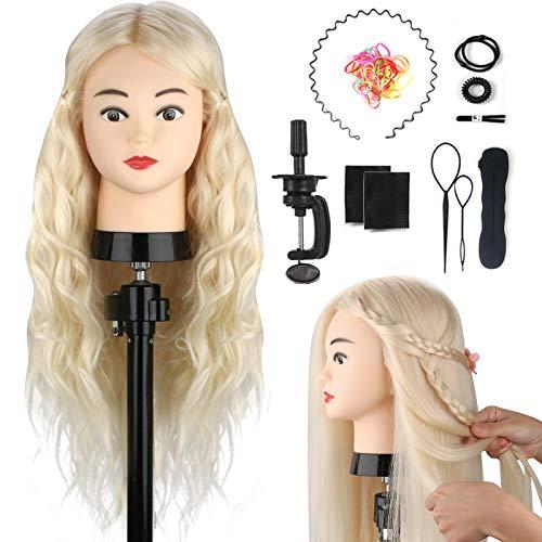 Testa per parrucchiere, TopDirect 60cm Testa di manichino 100% Veri Capelli Allenamento Cosmetologia da Bambola con Morsetto + Styling dei capelli accessori, Bianca