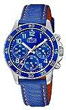 LOTUS Reloj Modelo 18581/6 de la colección Junior Collection, Caja de 36 mm Correa de Piel Azul Naranja para cadete