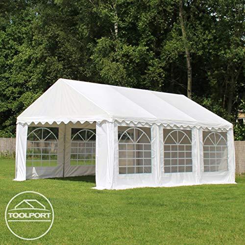 TOOLPORT Party-Zelt Festzelt 4x8 m Garten-Pavillon -Zelt ca. 500g/m² PVC Plane in weiß Wasserdicht - 4