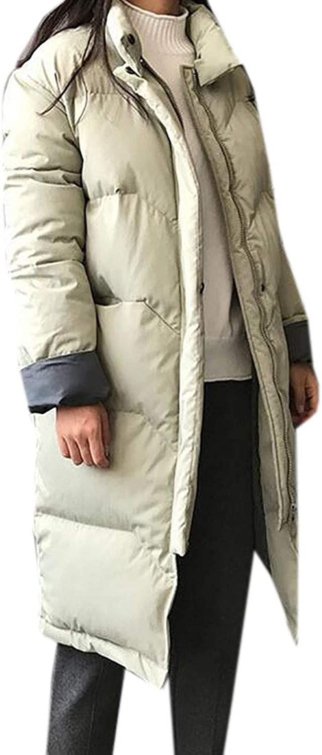 MU2M Women Parkas Longline Thick Winter Loose Quilted Padded Puffer Down Coat Green US L