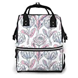 UUwant Mochila de pañales Momia Hand Drawn Protea Diaper Bags Large Capacity Diaper Backpack Travel Nappy Bags Mummy Backpackling