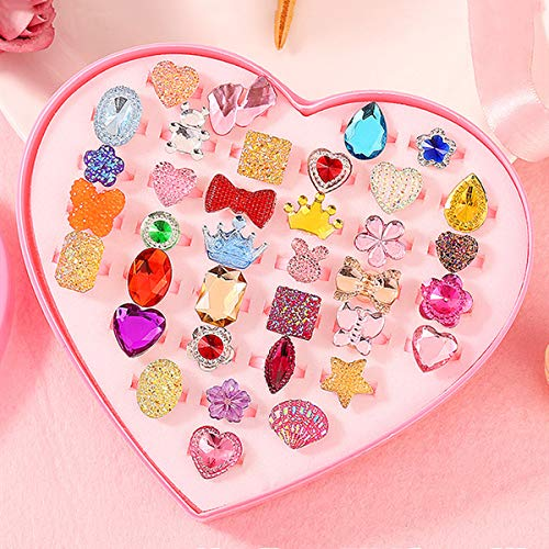 Children Toys,36pcs Shiny Adjustable Diamond Rings With Box Fixed Style For Girls