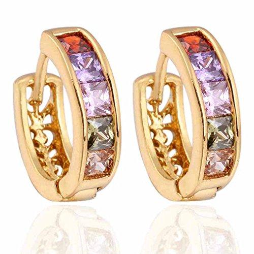 Yazilind Encanto liso chapado en oro Hollow Diseño Inlay Rectangle Circonita Pendientes del aro pequeño cúbico para la Mujer