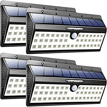 URPOWER Solar Lights 44 LED Waterproof Motion Sensor Lights Outdoor Wireless Solar Powered Wall Light Motion Activated Auto On/Off Solar Security Lights Outdoor for Patio Deck Yard Cool White 4 Pack