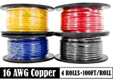GS Power 100% Copper 16 AWG (American Wire Gauge) Automotive Primary Wire 4 Roll Color Combo (100 Feet Roll, 400 FT total) for Low Voltage Car Audio Video Stereo Trailer Harness Wiring