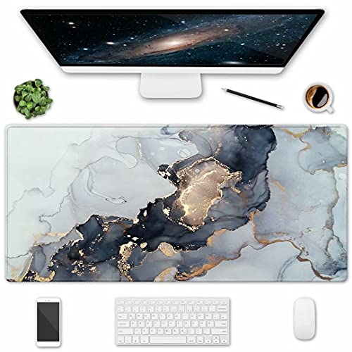 HOMKUMY Extended Gaming Mouse Pad, 35.5x15.75 Non-Slip Large Desk Pad Mousepad with Stitched Edges Waterproof Keyboard Mouse Mat Desk Protector for Game, Office and Home, Ink Marble