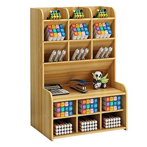 Organizador de escritorio de madera, gran capacidad soporte para bolígrafos, estante de almacenamiento de material de papelería, organizador de bolígrafos para oficina, hogar y material escolar