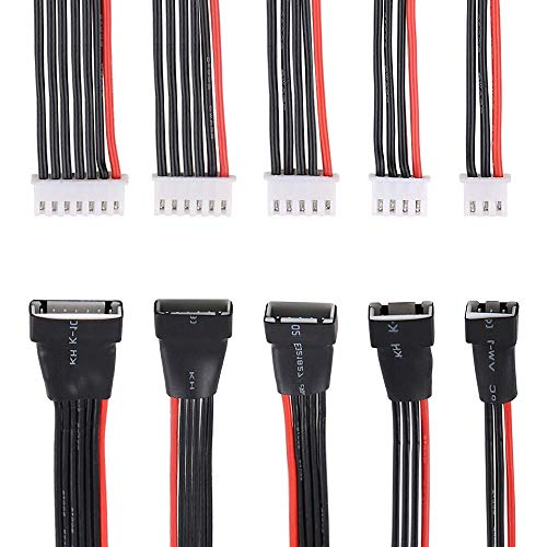 Innovateking 5PCS JST-XH 2S 3S 4S 5S 6S LiPo Battery Balance Charger Extension Cable, Balance Charging Extension Wire Cable Lead Adapter for RC Drone , Quadcopter and Multirotors (22AWG)