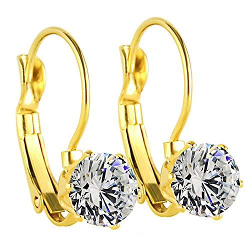 Charisma Stainless Steel Round Cubic Zirconia Crystal Dangle Leverback Earrings for Women Girl