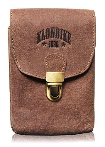 Klondike 1896 Echtleder Gürteltasche 'Bobby' - Große Hüfttasche für Damen und Herren – Retro Mittelalter/Wikinger/Wander Tasche (Braun)