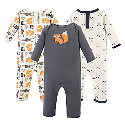 Hudson Baby Unisex Baby Cotton Coveralls, Forest, 9-12 Months