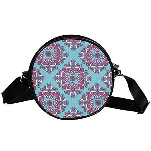 Damast Fliesen Diagonal Pouch Round Crossbody Wallet Schultertasche Fashion Circle Crossbody Umhängetasche Mini Canvas schräg Umhängetasche
