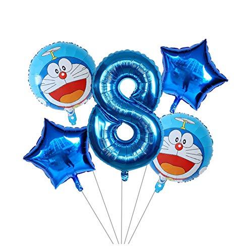 Yjswkfi Globo Los niños 5pcs Foil Globo de Dibujos Animados 1 2 3 5 años Globo de Aire Inflable Fiesta de cumpleaños Doraemon Decoración 4 (Color : 8)