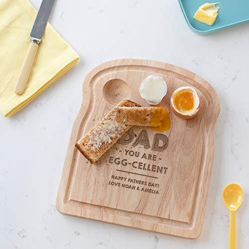 Personalisierbares Frühstücksbrett aus Holz mit Eierbecher - Eierbecher-Brett - witziges Geschenk für Papa zum Geburtstag Vatertag - Servierbrett Brotzeitbrett Vesperbrett mit Gravur
