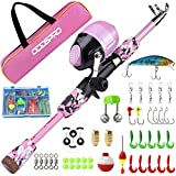 ODDSPRO Kids Fishing Pole Pink, Portable Telescopic Fishing Rod and Reel Combo Kit - with Spincast Fishing Reel Tackle Box for Girls, Youth