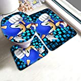3 Pieces Bath Rugs Set for Halloween Party, Anti Slip Bathroom Rug, Contour Mat, Lid Cover for Beach Vanity, Best Thick Shower Mat with Sonic The Hedgehog Secrets of The Medal Game Poster