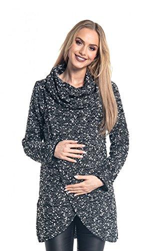 Happy Mama. para Mujer Suéter Cruzado Diseño de Capa Premamá de Lactancia. 359p (Negro & Blanco, 38-40, One Size)