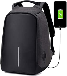 Mochila Antirrobo Reflectante Impermeable Portatil USB (Negro)
