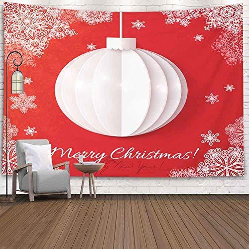 NA Tapiz Decorativo para Colgar en la Pared, tamaño Grande, Papel de Origami Blanco, Bola navideña, Fondo Rojo, Accesorio para Sala de Estar, Dormitorio, Tapiz Popular, Verde Turquesa