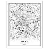 Gand Carte Art Mural Belgique Monde Ville Carte Affiche Imprime Noir Blanc Nordique Toile Peinture Salon Bureau DéCor à La Maison Photos 40x60 Cm Sans Cadre