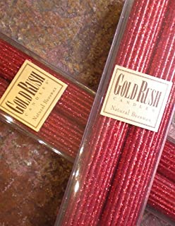 Gold Rush 8 Inch Natural Beeswax Glitter Candles, Ruby Red Color, Boxed Set of 2 Candles