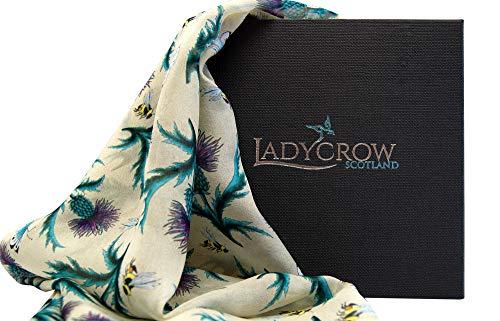 Ladycrow Luxe Handgedrukte Zijde Chiffon Sjaal in Crème met Thistles en Bijen