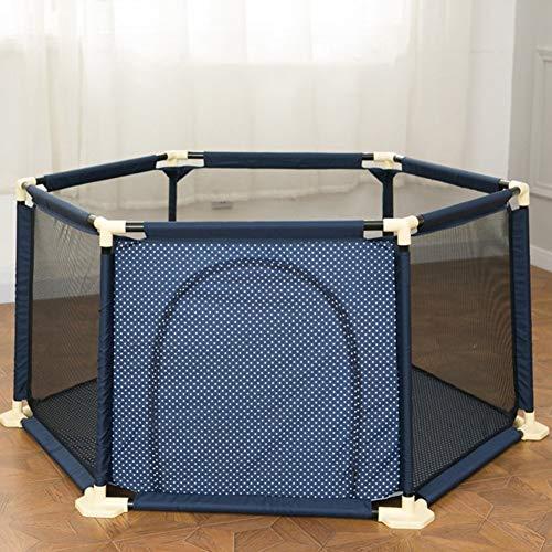 YXZQ Tragbarer Baby-Laufgitterzaun mit Bällen und Kissen, Home Indoor Outdoor Kids 6-Panel-Sicherheitsspielplatz, Blau (Größe: Laufgitter + 200 Bälle)