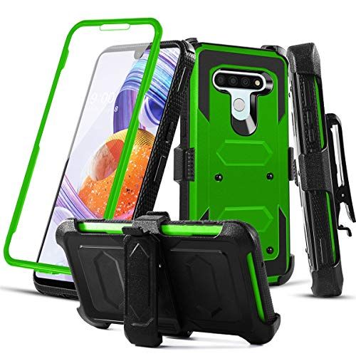 RioGree Phone Case for LG Stylo 6 with Belt Clip Screen Protector Kickstand Heavy Duty Durable for Women Men Girls Boys (Green)