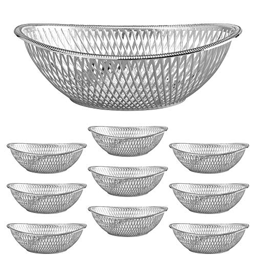 Medium Plastic Silver Bread Baskets - 10pk....