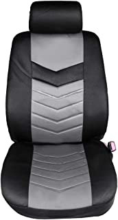 ECCPP Universal Car Seat Cover w/Headrest/Steering Wheel Cover/Shoulder Pads - 100% Breathable Embossed Cloth Stretchy Durable Auto Seat Cover for Most Cars(Black/Gray)
