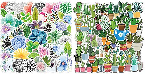 95pcs Watercolor Cactus Green Plants Stickers Oxygen Plant Foliage Botanical Succulent Plants Stickers for Laptop Scrapbook Water Bottle Phone Waterproof Decals Aesthetic Vinyl Sticker for Teens Girls