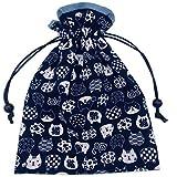 巾着袋 裏地付き 和柄 紺 猫柄×水色 ハンドメイド 日本製 御朱印帳袋 御朱印帳入れ 和小物 和雑貨 にゃんこもん