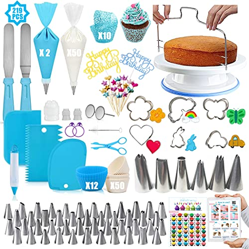 Cake Decorating Supplies Kit, Geioireny 219Pcs Cupcake Decorating Tools Kit with Non-Slip Cake Turntable-Piping Bags and 48 Tips Set with Pattern Chart & E.Book, Baking Tools for Beginners Cake Lovers