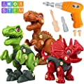 Sanlebi Take Apart Dinosaur Toys for Boys - Building Toy Set with Electric Drill Construction Engineering Play Kit STEM Learning for Kids Girls Age 3 4 5 Year Old from Sanlebi
