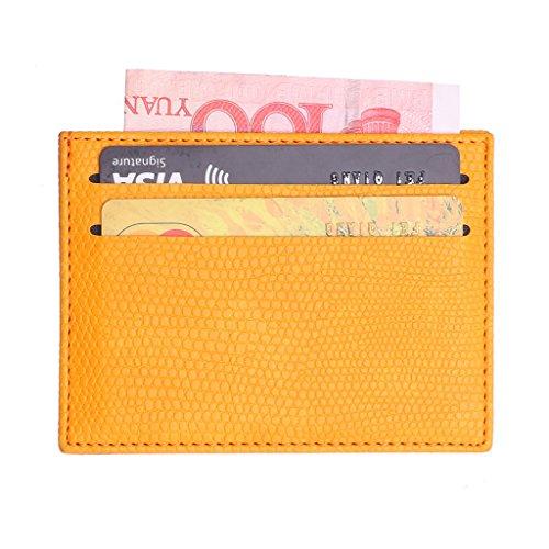 Xuebai - Tarjetero de Cuero Colorido para Tarjetas bancarias, Billetera Delgada para Tarjeta de crédito, Funda para identificación, Bolsa, Tarjetero para Tarjeta bancaria, Amarillo