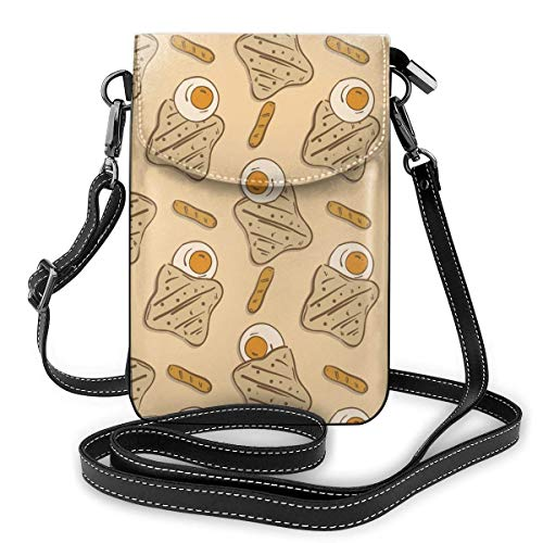 Leder Telefon Geldbörse, Spiegelei Brot Croissant Wurst Muster Kleine Umhängetasche Mini Handy Tasche Umhängetasche Für Frauen