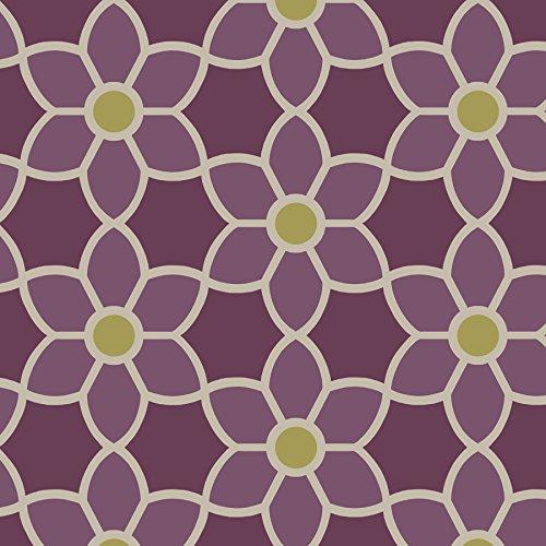 Beacon House 2535-20610 Blossom Geometric Floral Wallpaper, Purple