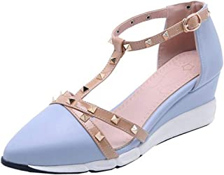 TAOFFEN Women Fashion Wedge Heels Summer Shoes T Strap