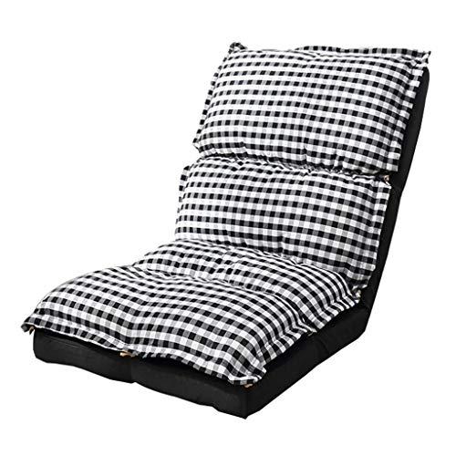 Shushi Bodenstuhl Faule Sofa Sofa Stuhl Wohnzimmer Folding Faule Sofa Schlafzimmer Bett Tatami Verdickte Waschbar Sessel (Farbe: Schwarzweiß-Plaid, Größe: 118 * 55 * 17cm) Shushi