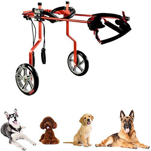 Hund Rollstuhl mit 2 Räder, Vorne und Hinten Unterstützung für Behinderte ältere Hunde und Verletzten, Einstellbare Gehhilfe Hundegehilfe Hunderollstuhl, Haustiere Rehabilitation, Hunde Katzen