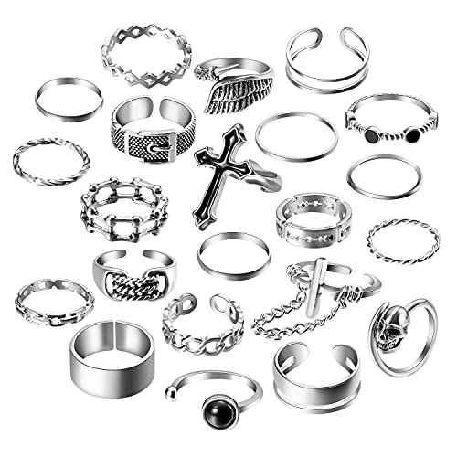 PANTIDE Vintage Punk Rings Set Gothic Knuckle Midi Rings Adjustable Alloy Chain Belt Cross Stackable Finger Half Open Rings Fashion Joint Jewelry for Women Men (Silver) 22Pcs