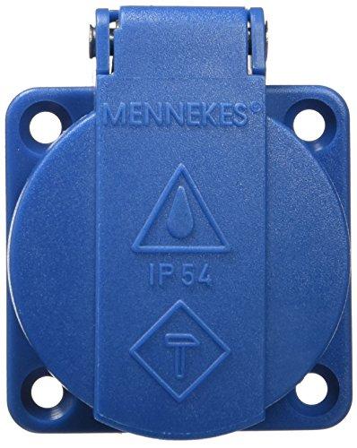 MENNEKES 11011 IP54-geschützte SCHUKO-Steckdose ohne Verschluss zum Tafeleinbau, 3-polig mit 2 Leitern + Erde, 16 A, 230 V, blau