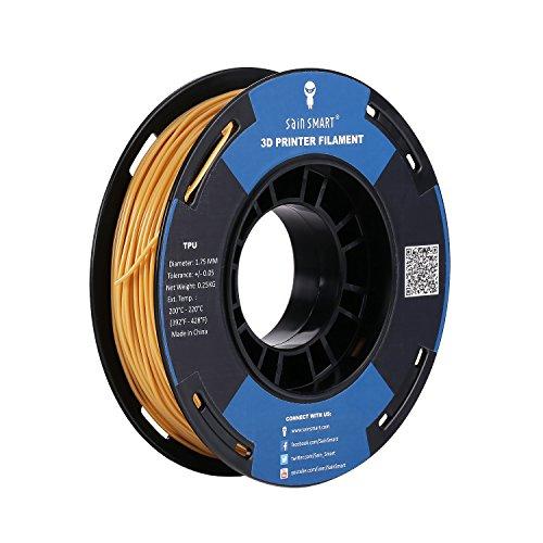 SainSmart Gold Flexible TPU 3D Printing Filament, 1.75 mm, 250g, Dimensional Accuracy +/- 0.05 mm