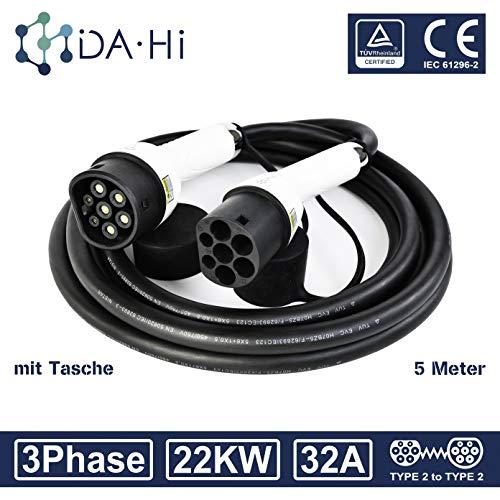 DA Hi EV Ladekabel für Elektrofahrzeuge   32A 3Phase 22KW 5m   Typ 2 zu Typ 2 IEC 62196-2   TÜV & CE certifiziert   Wasserdichten Schutzart IP54   Schutz vor Regen Wind und Staub